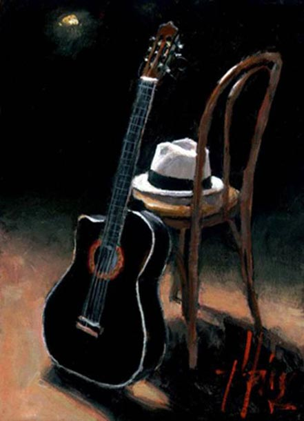 fabian perez guitar and hat