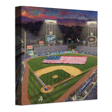 Evening at Dodger Stadium™ – 14″ x 14″ Gallery Wrapped Canvas