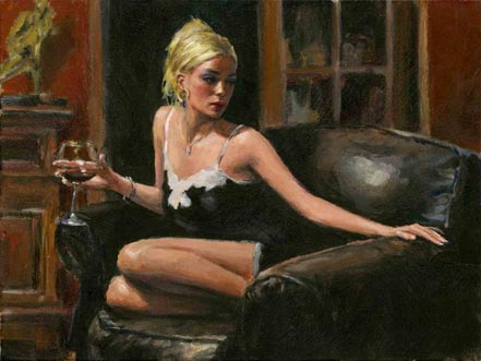 fabian perez sally on the couch ii red wall