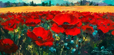 james coleman poppies in the summer breeze
