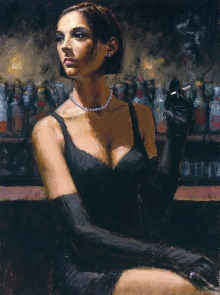 fabian perez brunette at the bar ii