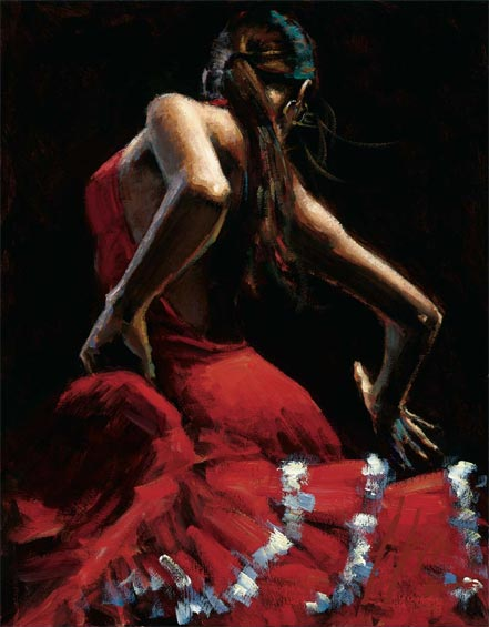 fabian perez dancer in red with white
