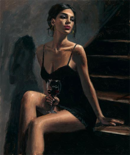 fabian perez girl with red at stairs ii