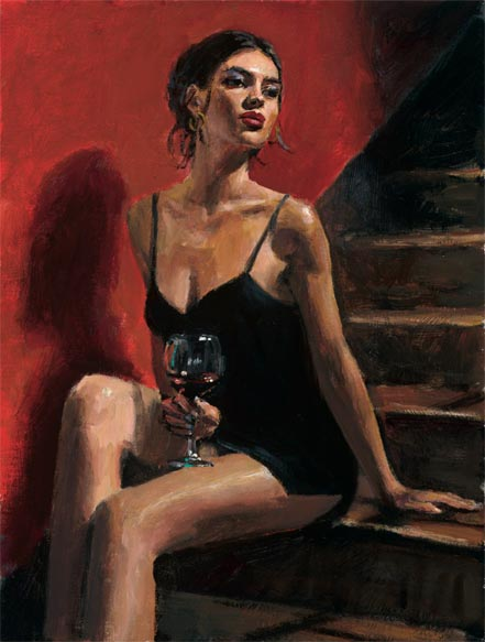 fabian perez girl with red at stairs red wall