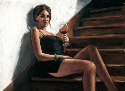 fabian perez girl with red at stairs