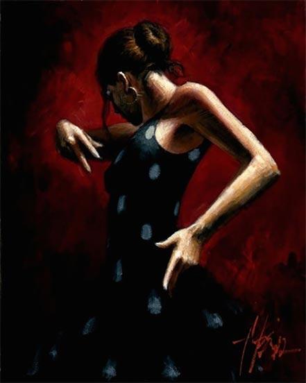 fabian perez el baile del flamenco en rojo with polka dots
