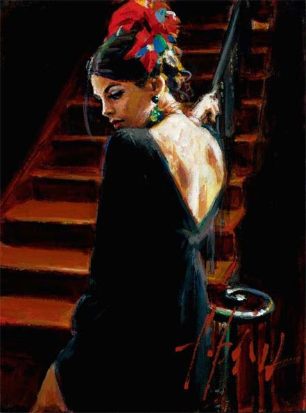 fabian perez linda at the stairs ii