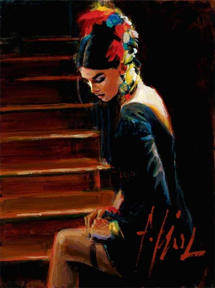 fabian perez linda at the stairs