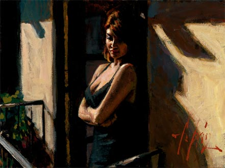 fabian perez saba at the balcony with black dress
