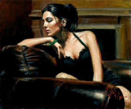 fabian perez tess iii with fireplace