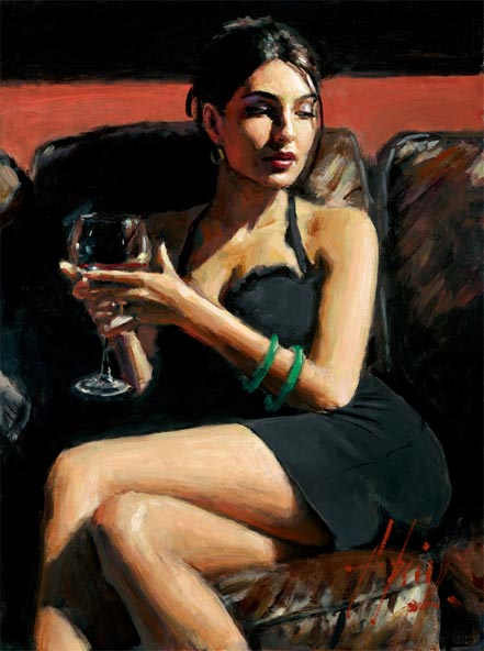 fabian perez tess on leather couch