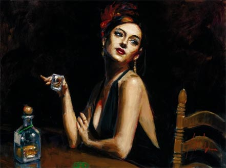 fabian perez the singer with tequila glass