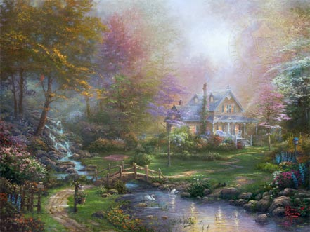 artist painter thomas kinkade painting a mothers perfect day