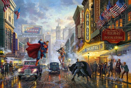 thomas kinkade batman superman and wonder woman