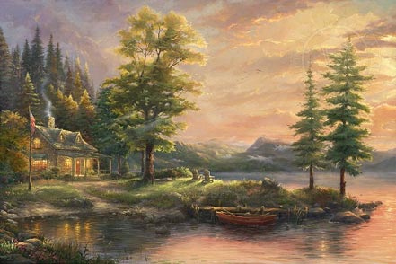thomas kinkade morning light lake