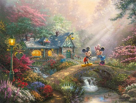 thomas kinkade mickey and minnie sweetheart bridge