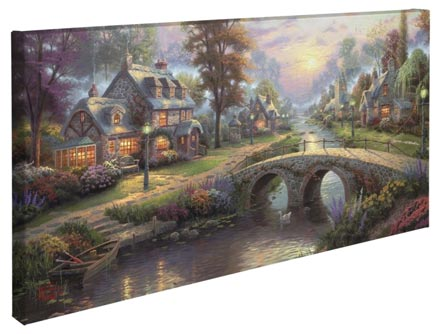 "Sunset on Lamplight Lane – 16"" x 31"" Gallery Wrapped Canvas"