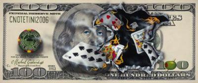 michael godard $100 bill full house