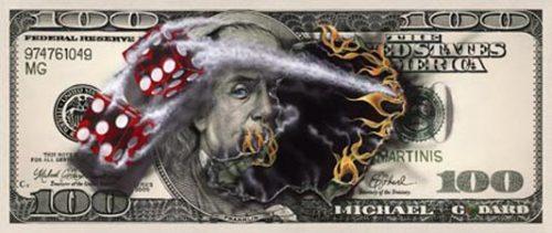 michael godard 100 bill with dice