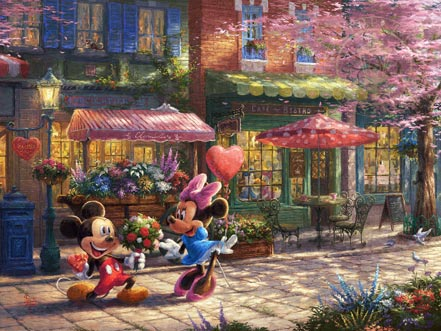 thomas kinkade mickey and minnie - sweetheart cafe