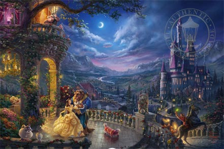 thomas kinkade beauty and the beast dancing in the moonlight