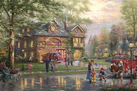 thomas kinkade hometown firehouse