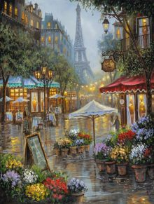 robert finale paris flower market metal art print