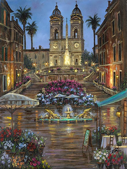 robert finale spanish steps of rome metal art print