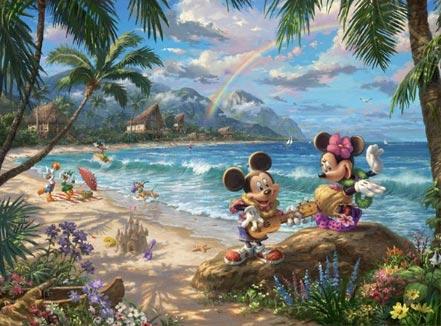 thomas kinkade mickey and minnie in hawaii