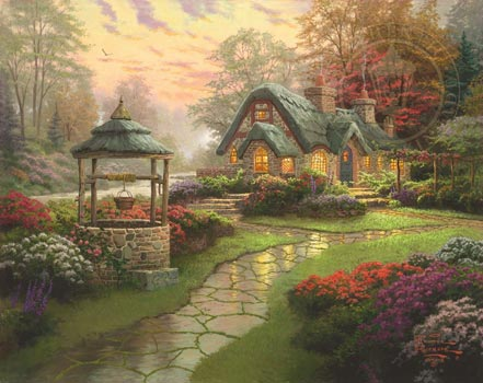 thomas kinkade make a wish cottage