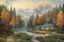 thomas kinkade evening at autumn lake