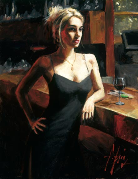fabian perez monika at bar with red