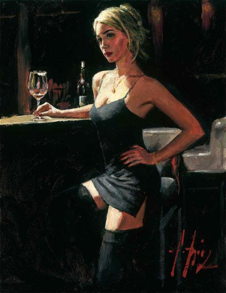 fabian perez monika at bar with white