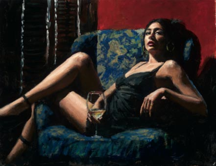 fabian perez vanessa in blue flowers chair