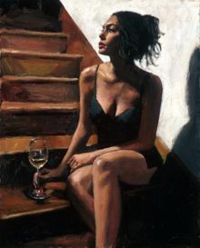 fabian perez white wine on the stairs