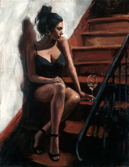 fabian perez white wine on the stairs ii