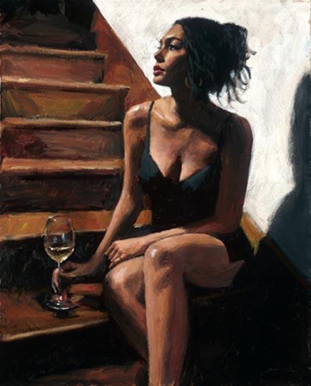 fabian perez white wine on the stairs