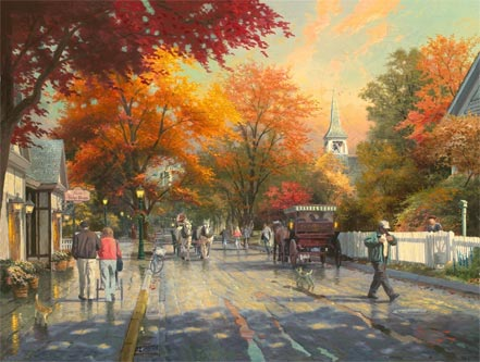 thomas kinkade autumn on mackinac island