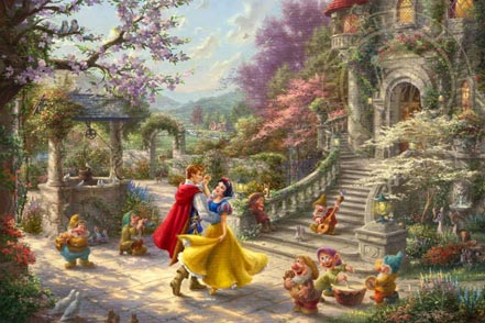 thomas kinkade snow white dancing in the sunlight