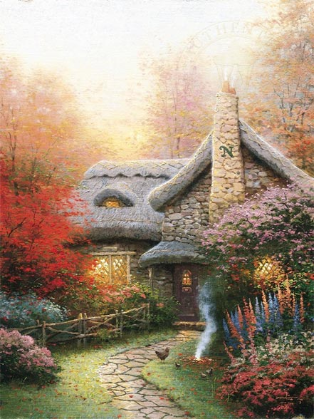 thomas kinkade autumn at ashleys cottage
