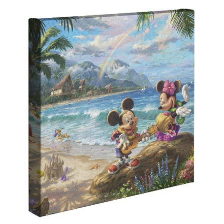 "Mickey and Minnie in Hawaii – 14"" x 14"" Gallery Wrapped Canvas"