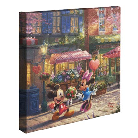 "Mickey and Minnie Sweetheart Cafe – 14"" x 14"" Gallery Wrapped Canvas"