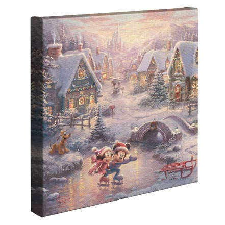 Mickey and Minnie Sweetheart Holiday – 14″ x 14″ Gallery Wrapped Canvas