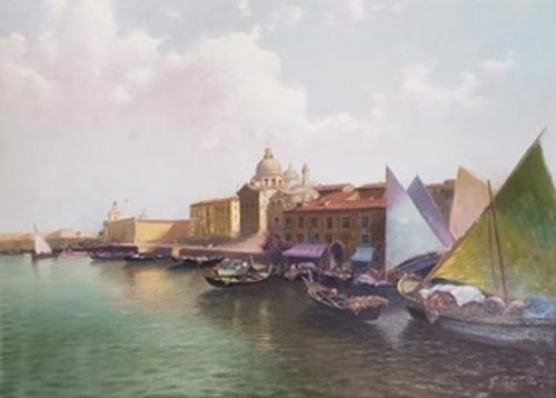 Venezia, Chiesa Original Oil Painting by G. Pratillo