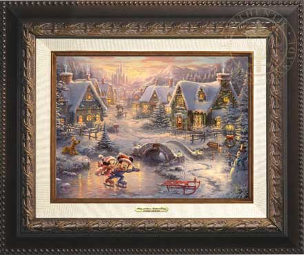 thomas kinkade mickey and minnie sweetheart holiday