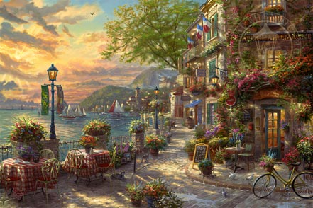 thomas kinkade french riviera cafe