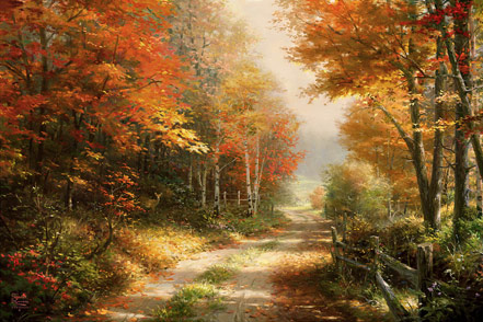 thomas kinkade a walk down autumn lane