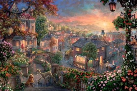 thomas kinkade lady and the tramp