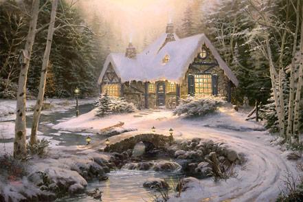 thomas kinkade winter light cottage