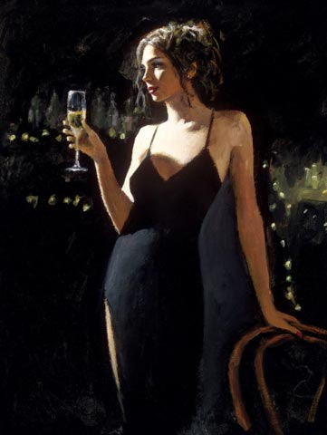 fabian perez tiffany with champagne